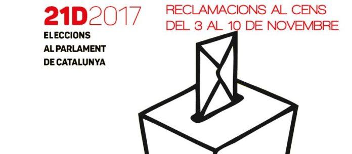 Llistes del Cens Electoral i presentació de reclamacions