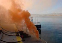 Simulacre d'incendi a la benzinera del Club Nàutic Cambrils