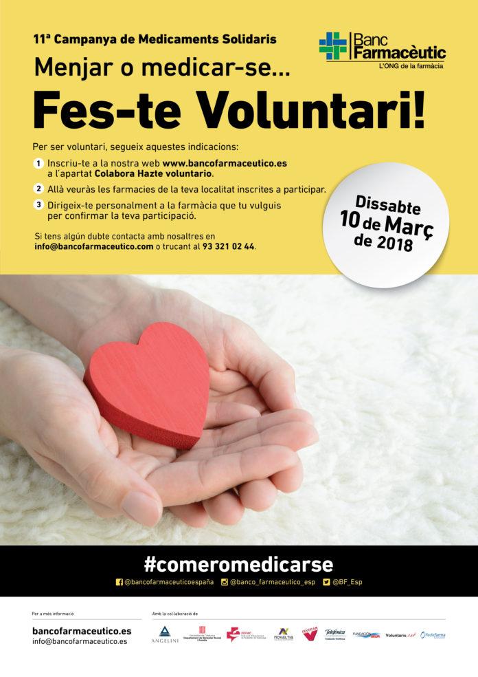 Es necessiten 1.200 voluntaris per a la 11ª Campanya de Medicaments Solidaris de l'ONG Banc Farmacèutic