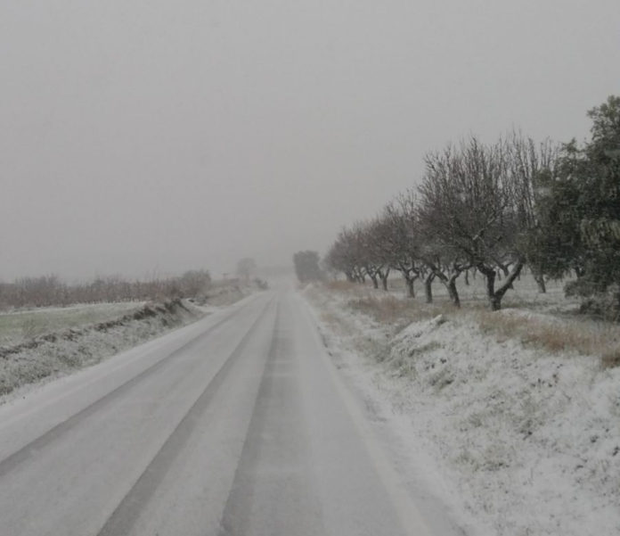 Quatre equips llevaneus treballen per evitar els efectes de la nevada a les carreteres de la Diputació de Tarragona