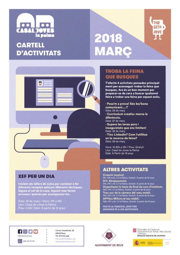 Cartel del Casal de Joves sobre les activitats del març