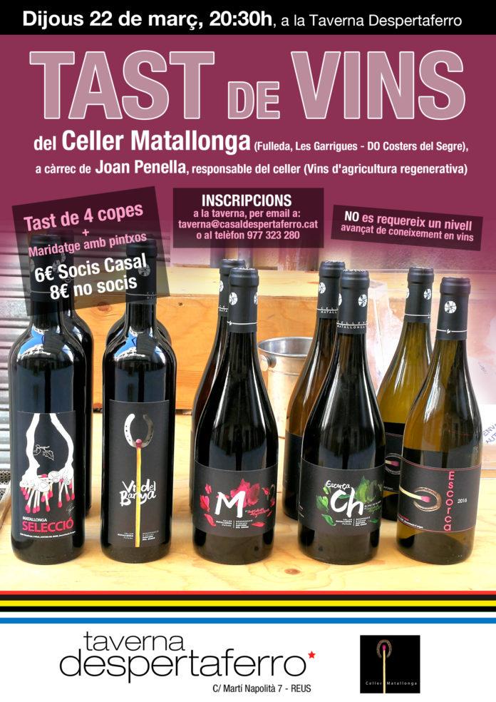 El Casal Despertaferro de Reus organitza un tast de vins de la DO Costers del Segre
