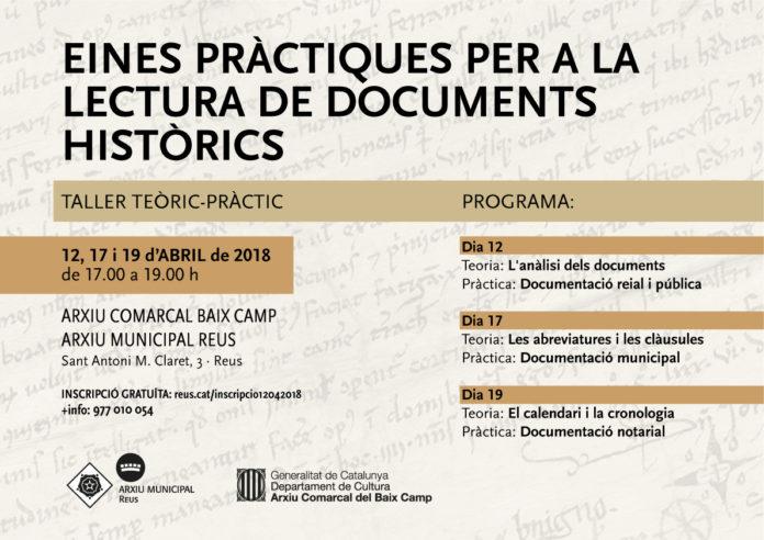 """Curs """"Eines pràctiques per a la lectura de documents històrics"""" a l'Arxiu de Reus"""