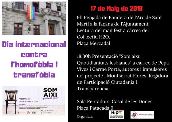 Reus commemora aquest dijous el Dia Internacional contra l'Homofòbia i la Transfòbia