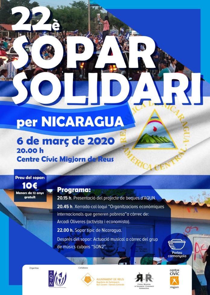 El 22è Sopar Solidari per Nicaragua, al Centre Cívic Migjorn