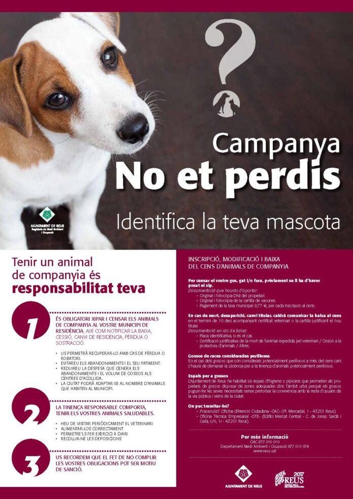 Cartell de la campanya ¨No et perdis pel xipatge de gossos Reus