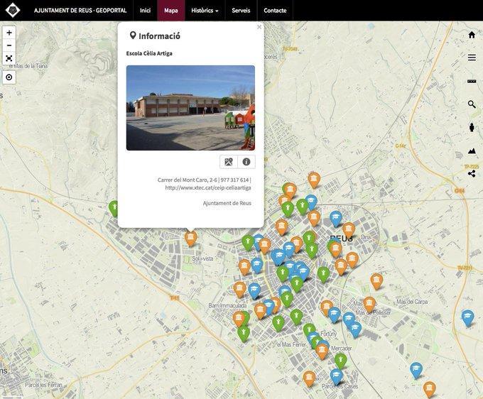Mapa de centres escolars de Reus