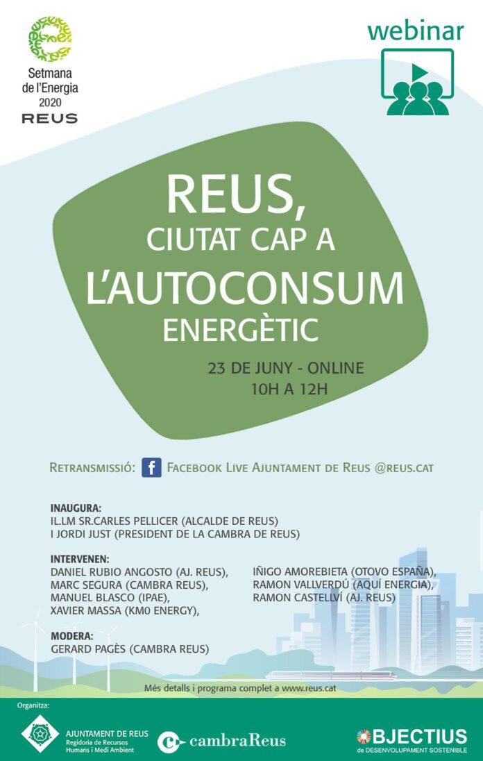 L'Ajuntament i la Cambra organitzen el webinar 'Reus, ciutat cap a l'autoconsum energètic'