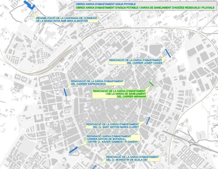 Bateria d'obres d'Aigües de Reus a les xarxes de sanejament i abastament