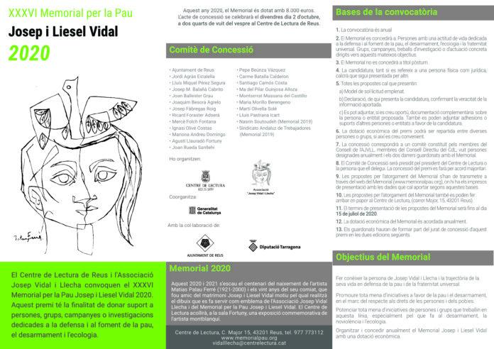 Convocat el XXXVI Memorial per la Pau Josep i Liesel Vidal 2020