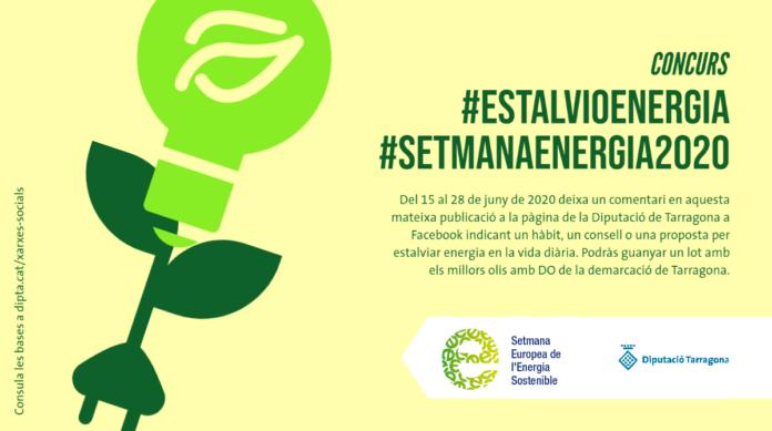 La Diputació de Tarragona impulsa un concurs sobre estalvi energètic a les xarxes socials amb motiu de la Setmana de l'Energia 2020. Sota el lema #EstalvioEnergia, la institució anima a la ciutadania a compartir a Facebook, Twitter i Instagram hàbits, consells i idees per estalviar energia en el dia a dia. L'objectiu és promoure l'estalvi energètic i el foment de les energies renovables a través de les xarxes socials, a més d'incentivar la reflexió sobre la importància de les accions individuals per contribuir al consum responsable d'energia. El concurs estarà actiu a les xarxes entre el 15 de juny i el 28 de juny ambdós inclosos. Per participar-hi caldrà publicar a Facebook, Twitter o Instagram un consell, hàbit o proposta per estalviar energia en la vida diària. A Facebook, caldrà comentar la publicació destacada que hi haurà al perfil de la Diputació. A Twitter, els interessats hauran de fer un tuit des del seu perfil amb les etiquetes #EstalvioEnergia i #SetmanaEnergia2020 i citar el perfil de la institució (@dipta_cat). I en el cas d'Instagram, podran fer un comentari en la publicació de la Diputació o bé fer una publicació pròpia amb una imatge d'elecció lliure. En ambdós casos, s'hauran d'incloure les etiquetes #EstalvioEnergia i #SetmanaEnergia2020 i citar el perfil @dipta_cat. Per a més informació, podeu consultar les bases a: www.dipta.cat/xarxes-socials. El certamen tindrà tres persones guanyadores una per a cada mitjà social on es realitza la campanya (Facebook, Twitter i Instagram). La selecció dels premiats es farà de manera automàtica i aleatòria entre tots els participants mitjançant una aplicació automàtica. El premi serà un lot d'ampolles d'oli d'oliva verge extra premiats en la darrera edició dels Premis CDO (guardons als millors olis de les denominacions d'origen protegides de la demarcació de Tarragona). La Setmana de l'Energia se celebra del 22 al 28 de juny, coincidint amb la Setmana Europea de l'Energia Sostenible, amb l'objectiu de sensibili