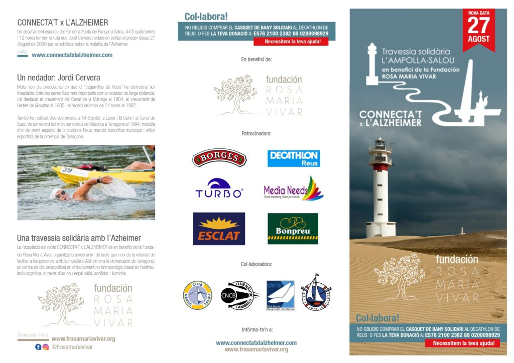 El Club Nàutic Cambrils guiarà al nedador Jordi Cervera al repte CONNECTA'T x L'ALZHEIMER