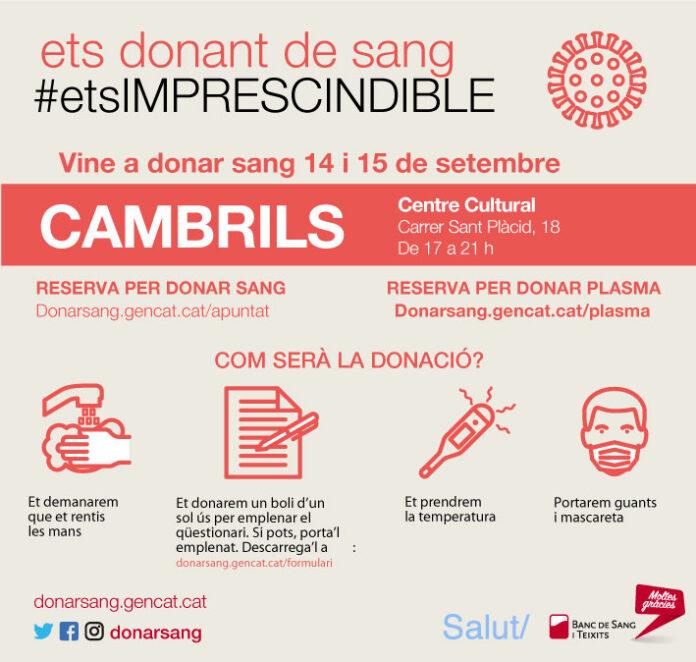 Cambrils acull una campanya especial de donació de sang
