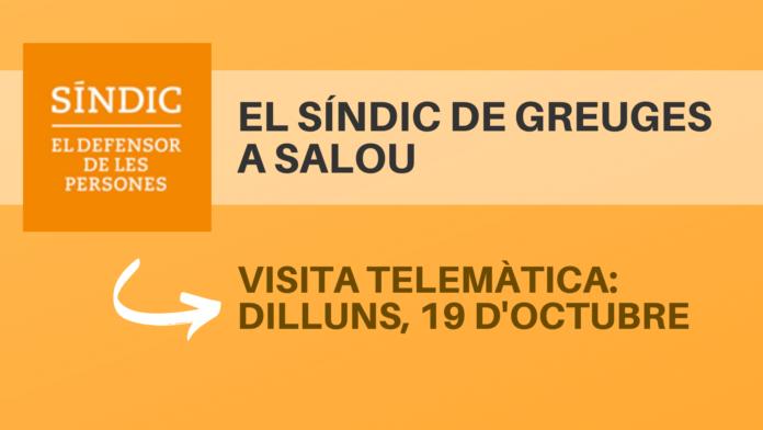El Síndic de Greuges atendrà, de forma telemàtica, la ciutadania de Salou, el proper dilluns, 19 d'octubre