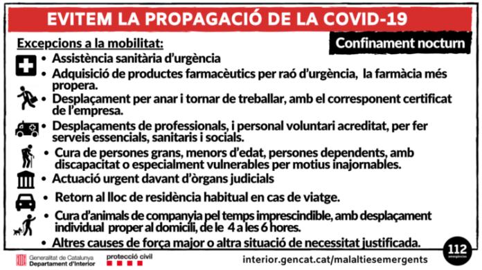 La Generalitat aplica el confinament nocturn