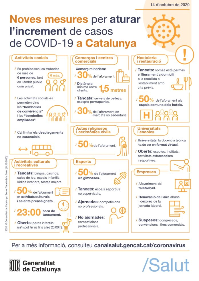 El Govern presenta un nou paquet de mesures per frenar l'expansió de la Covid-19