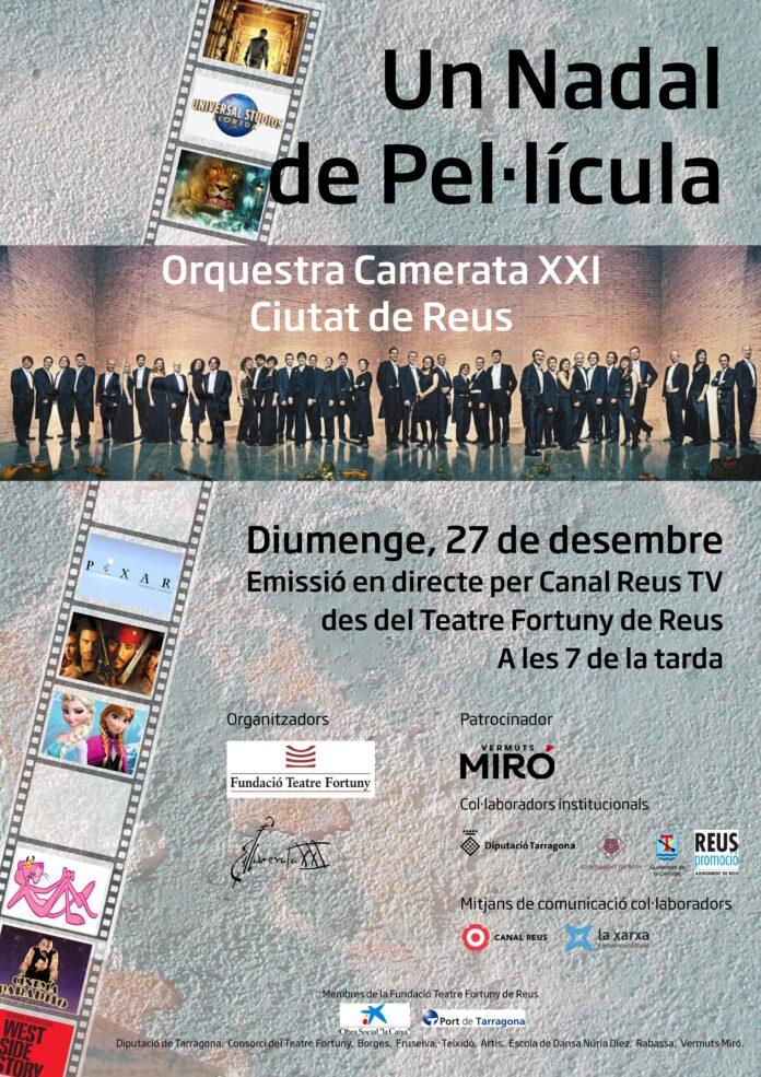 """La Fundació del Teatre Fortuny i la Camerata XXI – Orquestra ciutat de Reus organitzen el concert """"Un Nadal de Pel·lícula"""""""