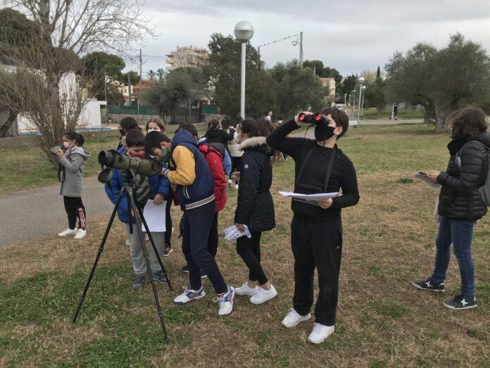 Salou promou l'activitat d'observació dels moixons per als estudiants del municipi
