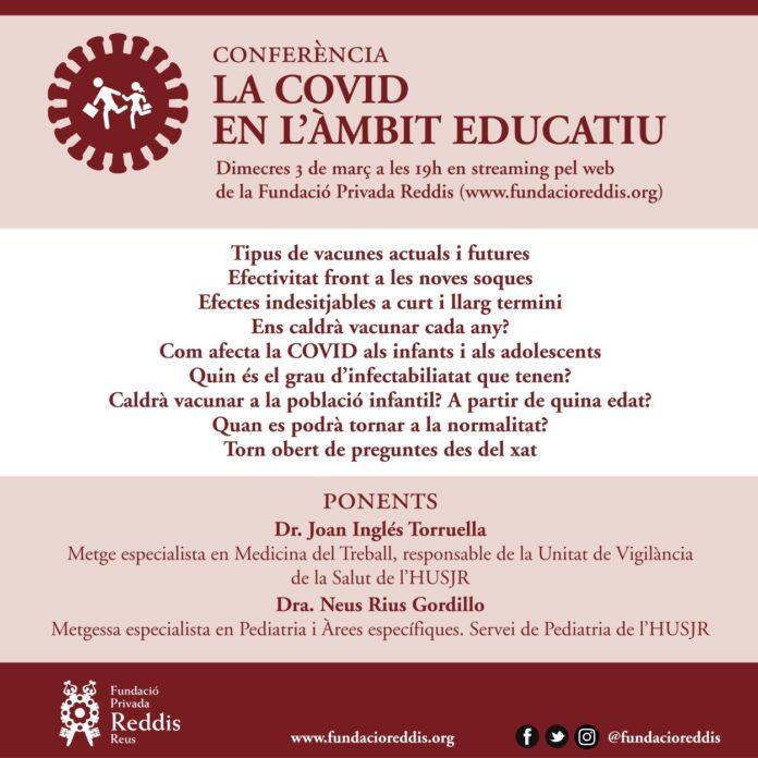 La Fundació Reddis organitza una conferència sobre la COVID-19 adreçada a tots els docents del territori