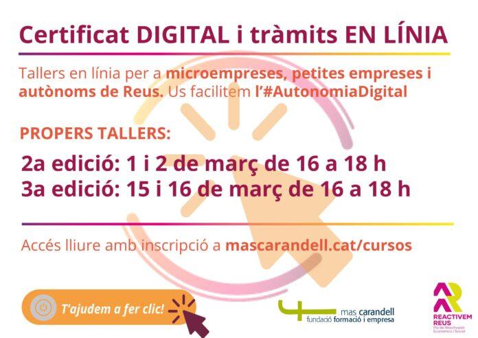 Mas Carandell impulsa l'autonomia digital de petites empreses i autònoms amb tallers de certificat digital i tràmits en línia d'accés lliure